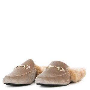 Shoes - YOUR MAJESTY FAUX FUR NUDE VELVET LOAFER SLIDES